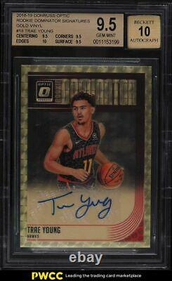 2018 Donruss Optic Dominator Gold Vinyl Trae Young ROOKIE RC AUTO 1/1 BGS 9.5