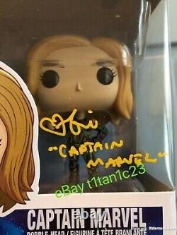 Brie Larson Signed Captain Marvel Funko Pop 516 Jsa Coa Auto Avengers Neon Suit
