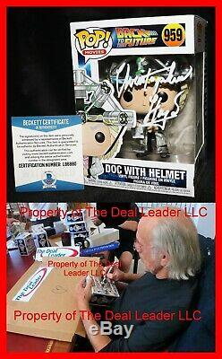 Christopher Lloyd Signed Doc With Helmet Back To Future Funko POP Beckett 959