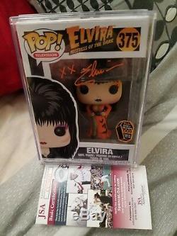Funko Pop Spooky Empire Exclusive Elvira Orange Dress LE 1500 SIGNED JSA cert