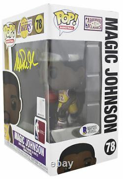 Lakers Magic Johnson Signed NBA HWC #78 Funko Pop Vinyl Figure with Yellow Sig BAS