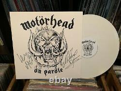 MOTORHEAD SIGNED AUTOGRAPHED LP WHITE VINYL LEMMY KILMISTER MIKKEY DEE PHIL x3