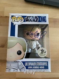 Mark Hamill Signed SW ECCC Luke Skywalker Stormtrooper 16 Funko JSA Z13544