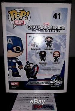 Marvel Comics Funko Pop Exclusive Captain America-signed By STAN LEE with COA