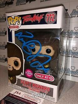 Michael J Fox Scott Howard Teen Wolf Flocked Autographed Funko Pop-jsa Coa Bttf