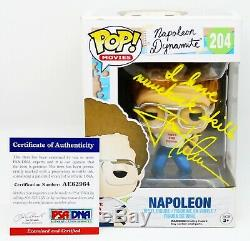 Rare Jon Heder Signed Autographed Napoleon Dynamite with Quote Funko POP PSA JSA