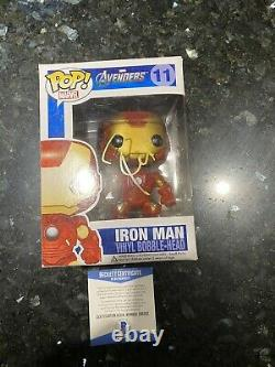 Robert Downey Jr signed Funko Pop Beckett COA Stark Iron Man Marvel Vaulted #11