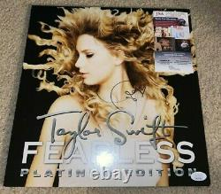 Taylor Swift Signed Fearless RSD Platinum Edition Album Vinyl Singer Red JSA