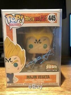 VAULTED Funko Pop Majin Vegeta Signed Blue by CHRIS SABAT Over 9000 Exclusive