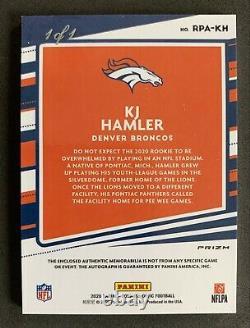 2020 Optic Kj Hamler Rookie Patch Auto Gold Vinyl 1/1 Rc Rookie! Bouclier NFL