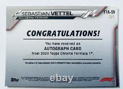 2020 Topps Chrome F1 Formule Un Sebastian Vettel Or Vinyle Auto #'d 1/1