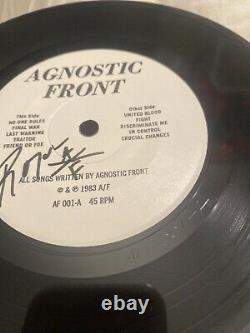 Agnostic Front United Blood 7 Signé Par Roger Miret Vtg Vinyl