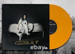 Billie Eilish Signé Où Allons-nous Autographié D'orange Vinyle Album Lp Bas Coa