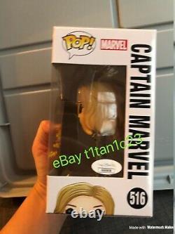 Brie Larson Signé Captain Marvel Funko Pop 516 Jsa Coa Auto Avengers Neon Suit