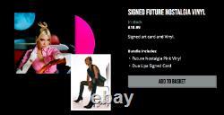 Dua Lipa Official Future Nostalgia Pink 12 Vinyl - Signé Carte D'art Autographié