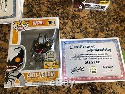 Funko Pop Anti Venom Hot Topic Exclusive Stan Lee Signé Withcoa