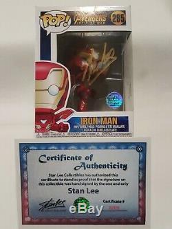 Funko Pop! Avengers Iron Man # 285 Signe Stan Lee Robert Downey Jr. Coa Rare
