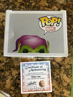 Funko Pop Green Goblin Sdcc Stan Lee Signé Withcoa