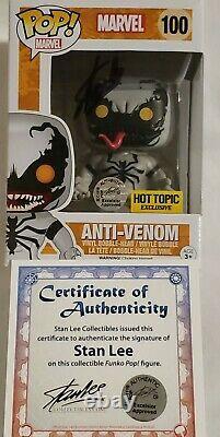 Funko Pop! Marvel Anti-venom 100 Signé Stan Lee Aveccoa Hot Topic Exclusive Rare