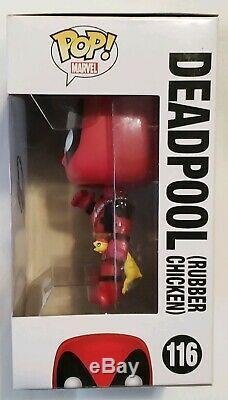 Funko Pop! Marvel Deadpool # 116 Withchicken Signé Stan Lee Coa Rare