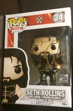 Funko Pop Wwe Signé Seth Rollins # 24 Noir Vitesse Outfit Voutée Jsa Coa
