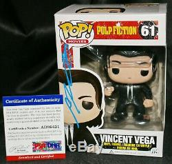 John Travolta Signé Vincent Vega Pulp Fiction Autograph Funko Pop Psa Jsa