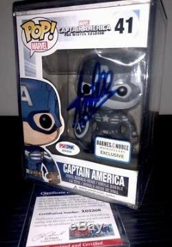 Marvel Comics Funko Pop Exclusive Captain America-signé Par Stan Lee Avec Coa