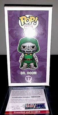 Marvel Comics Funko Pop Exclusive Dr. Doom- Signé Par Stan Lee Avec Coa