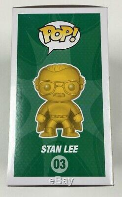 Marvel Stan Lee Or Funko Pop # 03 Nycc Exclusif Signé Par Stan Lee Withcoa