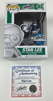 Marvel Stan Lee Silver Funko Pop # 03 D'exclusivité Signé Par Stan Lee Withcoa