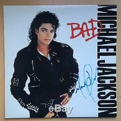 Michael Jackson Bad Vinyl Manche Album Autographié Signé Avec Coa