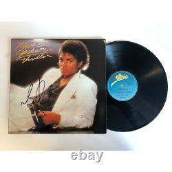 Michael Jackson Hand Signé Framed Thriller Vinyl Album Record Certificate