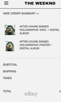 Mint Autographed A Signé Le 12 Weeknd Holographic Lp Vinyl After Hours Sold Out