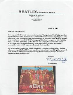 Paul Mccartney 2011 Signé Sgt. Peppers Album Cover Vinyliques Jsa Et Caiazzo Loa