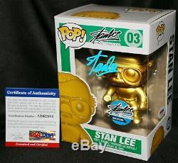 Rare Stan Lee Or # 03 Signé Objets De Collection. Com Exclusive Funko Pop Psa Jsa