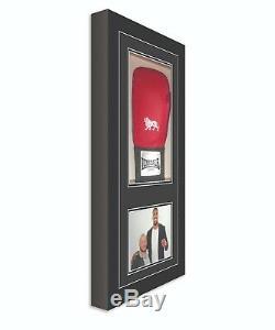 Signé Vitrine De Gant De Boxe Avec Photo Black Frame
