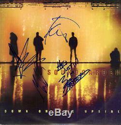 Soundgarden Vers Le Bas Sur Le Upside Vinyle Lp Chris Cornell Signée, Ben, Matt, Kim