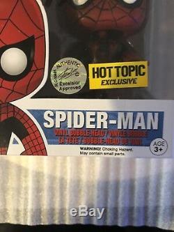 Spider Man Funko Pop Hot Topic Exclusif Signé Stan Lee Et Andrew Garfieldrare