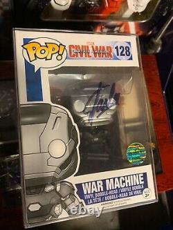 Stan Lee Signed War Machine CIVIL War Funko Pop #128 Avec Coa Marvel Comics Rare