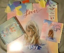 Taylor Swift Lover Pink & Blue Vinyl Lp Autographié CD Bundle Me